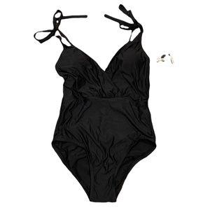 Sea Angel Wrap One Piece Bathing Suit Black Medium NWT